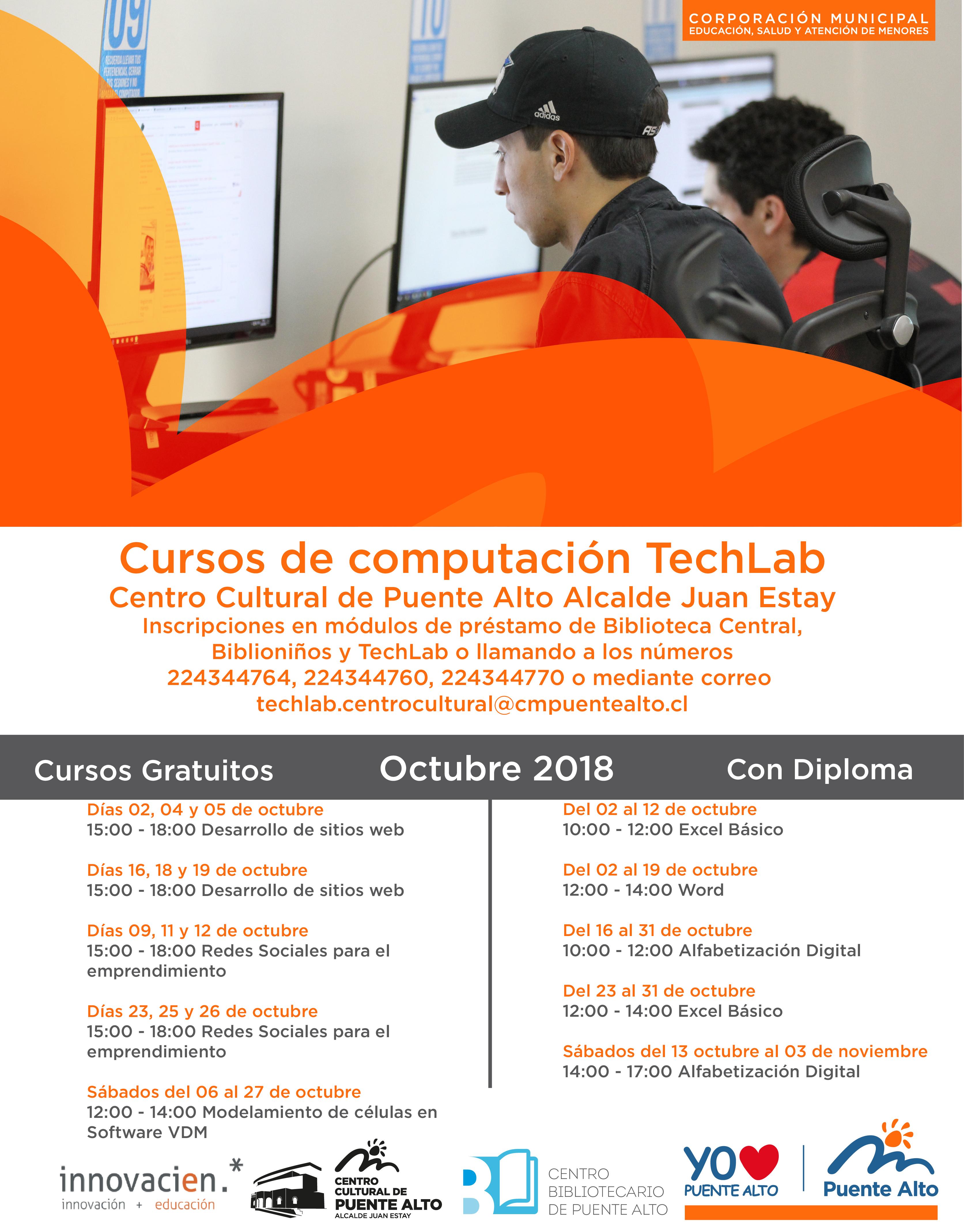 Cursos de Computación TechLab Octubre| Centro Cultural de Puente Alto