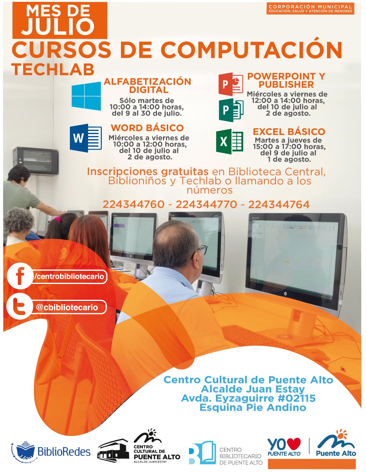 Cursos de Computación TechLab Julio | Centro Cultural de Puente Alto
