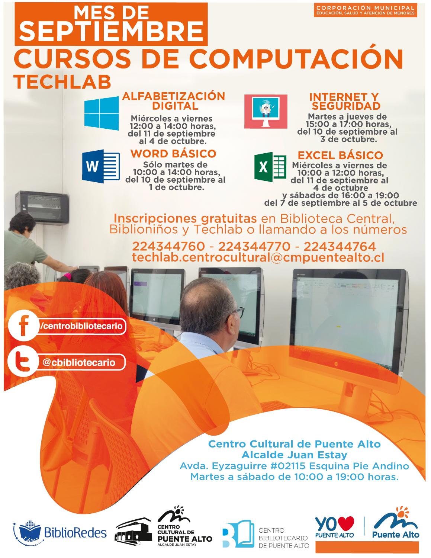 Cursos de Computación TechLab Septiembre | Centro Cultural de Puente Alto