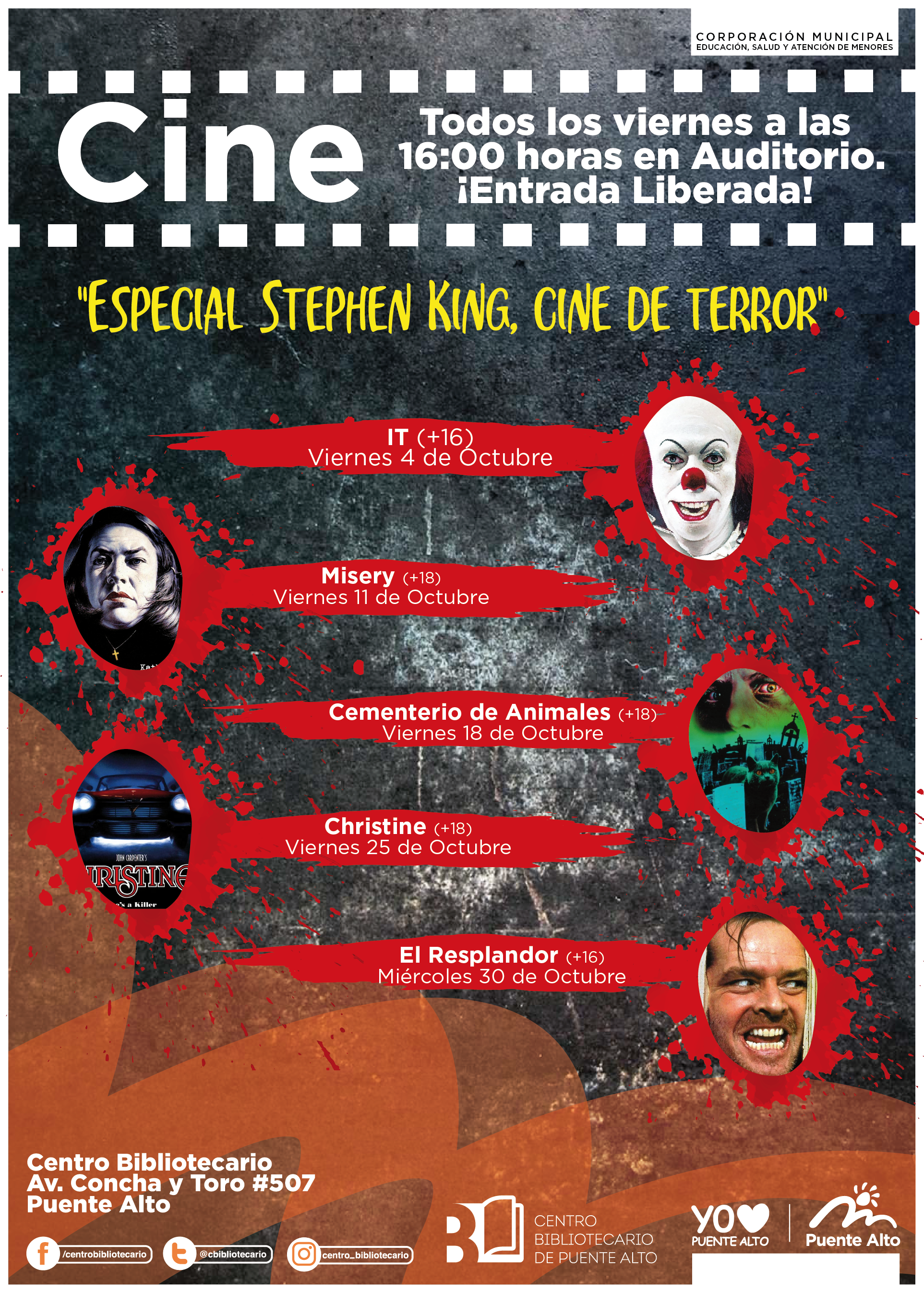 """Ciclo de cine de terror """"Especial Stephen King"""""""