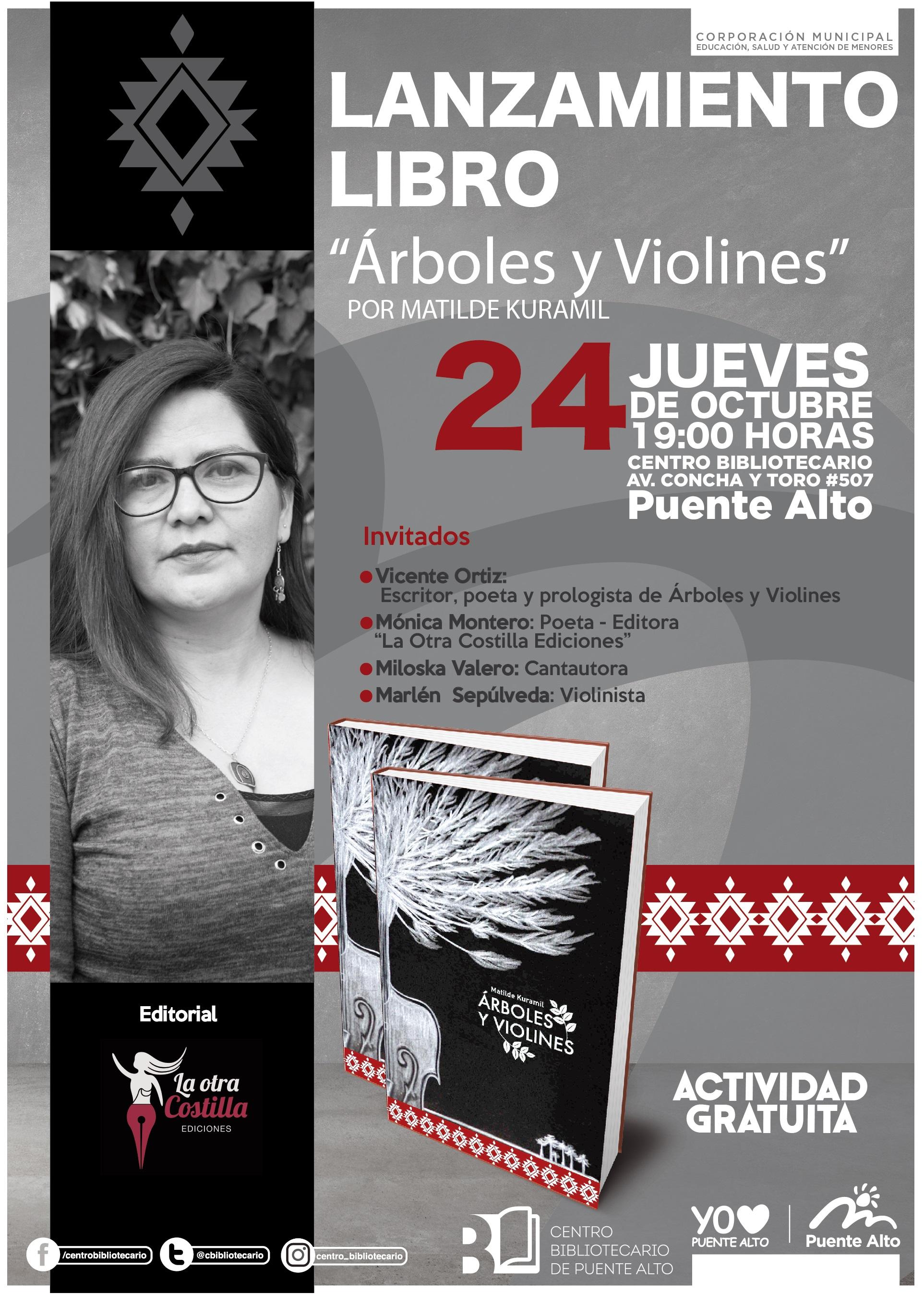 """Lanzamiento libro """"Árboles y Violines"""" por Matilde Kuramil"""