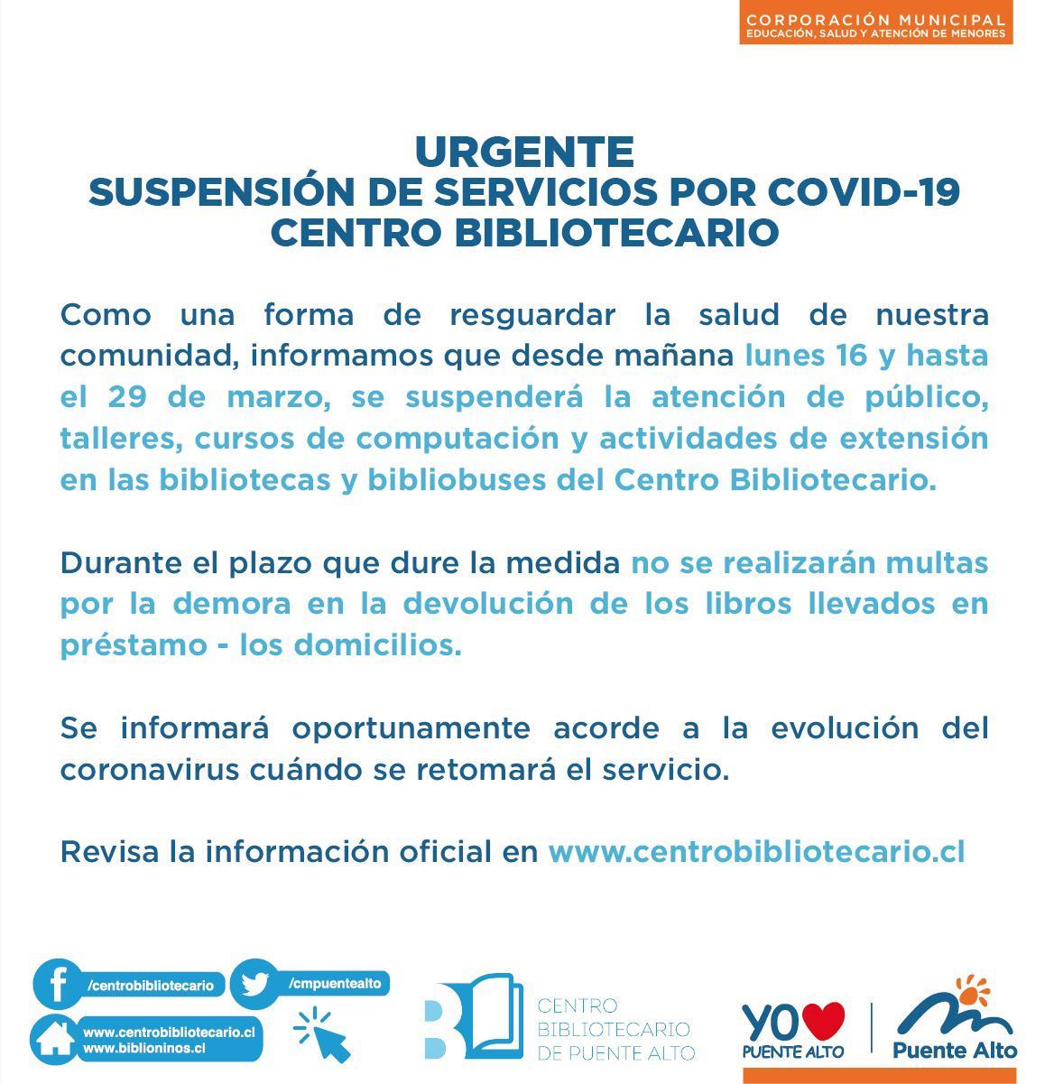 Urgente - Suspensión de servicios por COVID-19 - Centro Bibliotecario.